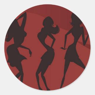 Pegatinas de las mujeres del baile pegatina redonda