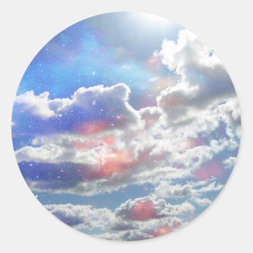 Pegatinas de las nubes pegatina redonda