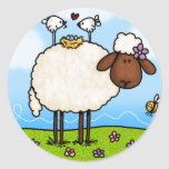 pegatinas de las ovejas de la primavera pegatinas redondas