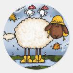 pegatinas de las ovejas del otoño etiquetas redondas