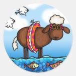 pegatinas de las ovejas del verano etiquetas redondas