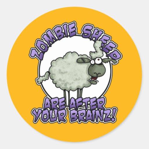 pegatinas de las ovejas del zombi pegatina redonda