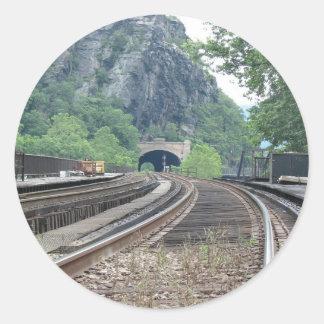 Pegatinas de las pistas de ferrocarril del etiqueta redonda