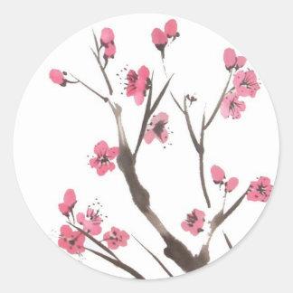 Pegatinas de las ramas del flor del ciruelo etiquetas redondas