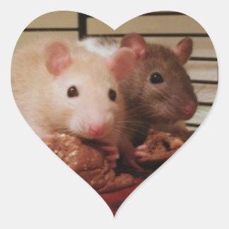 Pegatinas de las ratas del bebé pegatina en forma de corazón