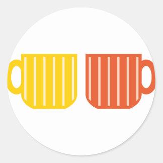 Pegatinas de las tazas de café pegatina redonda