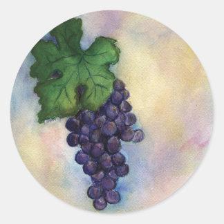Pegatinas de las uvas de vino rojo de pegatina redonda