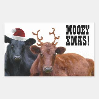 Pegatinas de las vacas de las Felices Navidad de Pegatina Rectangular