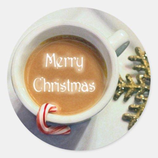 Pegatinas de Latte del café de las Felices Navidad Pegatina Redonda