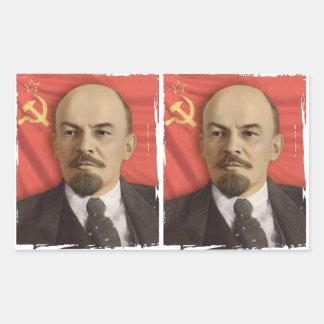 Pegatinas de Lenin (corte en 2) Pegatina Rectangular