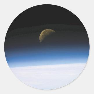 Pegatinas de levantamiento de la luna de la foto pegatina redonda