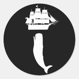 Pegatinas de levantamiento de Moby Dick Etiquetas Redondas