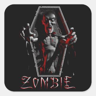 Pegatinas de levantamiento del zombi pegatina cuadrada