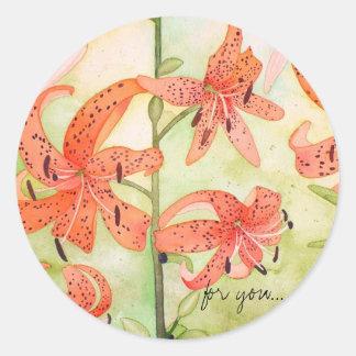 Pegatinas de Lillies del tigre, para usted Pegatina Redonda
