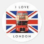 Pegatinas de Londres con el autobús y la bandera b