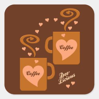 Pegatinas de los amantes del café pegatina cuadrada