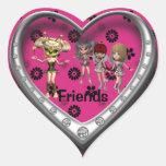 Pegatinas de los amigos colcomanias de corazon