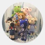 Pegatinas de los amigos de Amigurumi Pegatinas Redondas