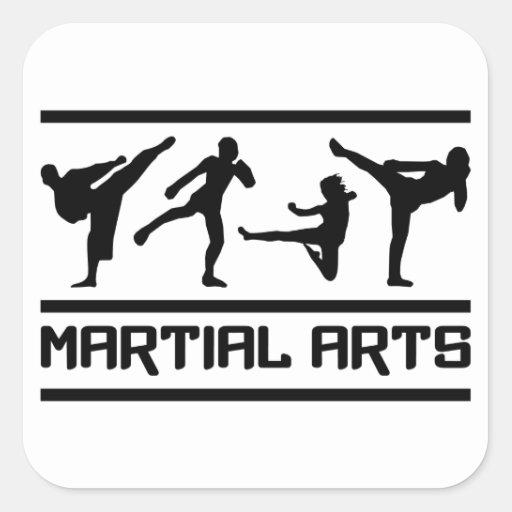 Pegatinas de los artes marciales, personalizable calcomanías cuadradas personalizadas