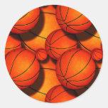 Pegatinas de los baloncestos etiqueta redonda