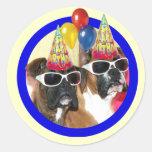 Pegatinas de los boxeadores del feliz cumpleaños pegatinas redondas