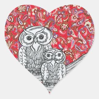Pegatinas de los búhos 1 del papel chino pegatina en forma de corazón