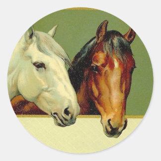 Pegatinas de los caballos de la demostración del pegatina redonda
