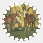 Pegatinas de los caballos de proyecto del Palomino Etiquetas Redondas