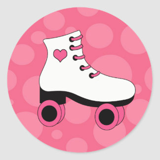 Pegatinas de los chicas del corazón del patinaje pegatina redonda