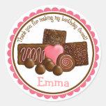 Pegatinas de los chocolates dulces etiqueta redonda