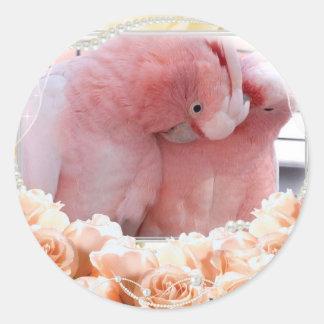 Pegatinas de los Cockatoos rosados Pegatina Redonda