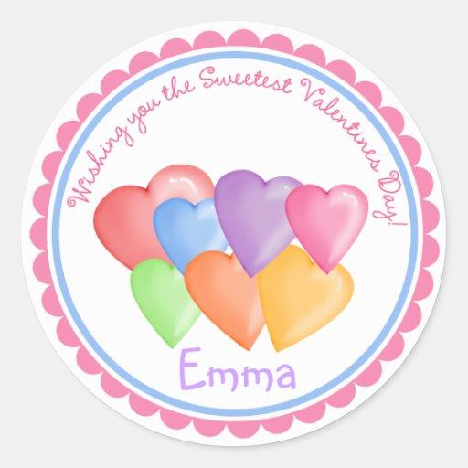 Pegatinas de los corazones del caramelo del día de pegatina redonda