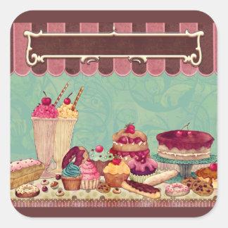 Pegatinas de los dulces del Patisserie de las Calcomanía Cuadradas