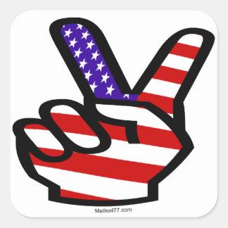 Pegatinas de los E.E.U.U. de los dedos de la paz Pegatina Cuadrada