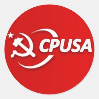 Pegatinas de los E.E.U.U. del Partido Comunista Pegatina Redonda