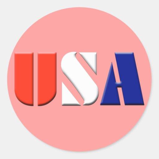 Pegatinas de los E.E.U.U. - (rojo) Etiqueta Redonda