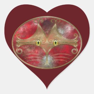 Pegatinas de los Gato-Ojos Pegatina En Forma De Corazón