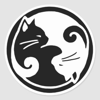 Pegatinas de los gatos de Yin Yang Pegatina Redonda