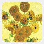 Pegatinas de los girasoles de Van Gogh Calcomanía Cuadradas Personalizadas