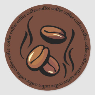 Pegatinas de los granos de café etiqueta redonda