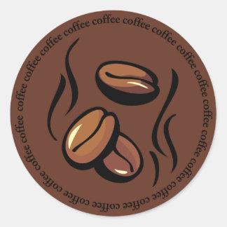 Pegatinas de los granos de café pegatina redonda
