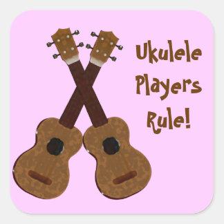 Pegatinas de los jugadores del Ukulele Pegatina Cuadrada