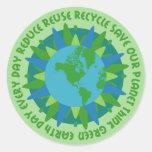Pegatinas de los lemas del Día de la Tierra Pegatinas Redondas