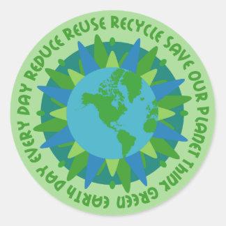Pegatinas de los lemas del Día de la Tierra Pegatina Redonda