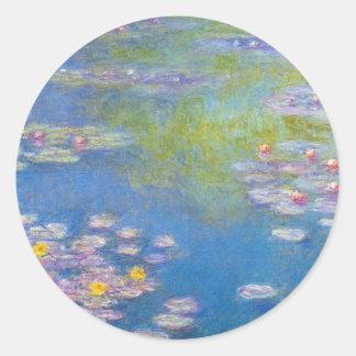 Pegatinas de los lirios de agua amarilla de Monet Pegatinas Redondas