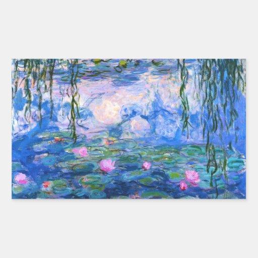Pegatinas de los lirios de agua de Monet Rectangular Altavoces