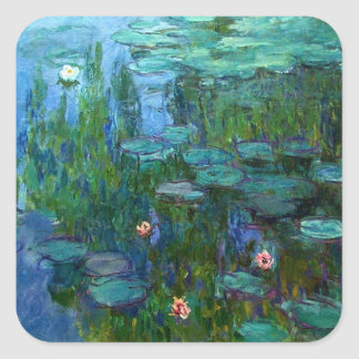 Pegatinas de los lirios de agua de Monet Nympheas Calcomanía Cuadradas