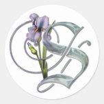 Pegatinas de los monogramas del iris - S Pegatina Redonda