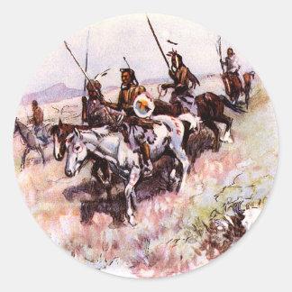 Pegatinas de los nativos americanos pegatina redonda