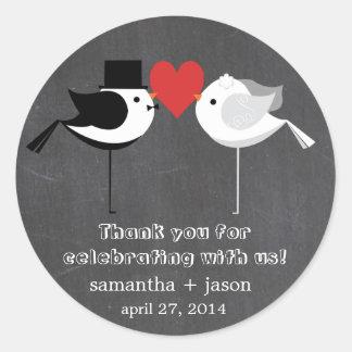 Pegatinas de los pájaros del boda pegatina redonda